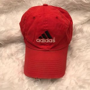 Adidas Red Distressed Baseball Hat